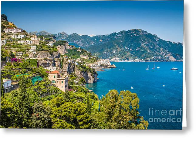 Ocean Panorama Greeting Cards - Amazing Amalfi Coast Greeting Card by JR Photography