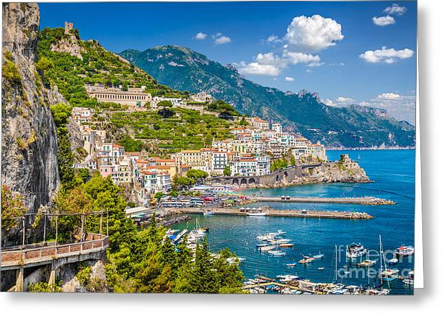 Ocean Panorama Greeting Cards - Amazing Amalfi Greeting Card by JR Photography