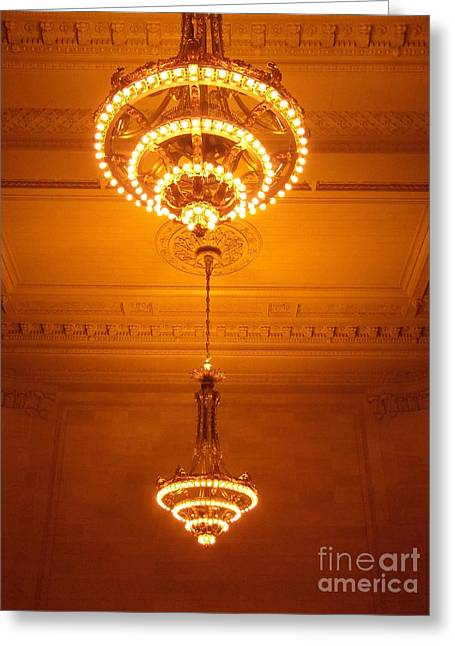 Sepia Chandeliers Greeting Cards - Amazing Antique Chandelier - Grand Central Station New York Greeting Card by Miriam Danar