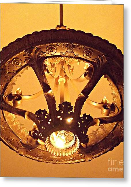 Sepia Chandeliers Greeting Cards - Amazing Art Nouveau Chandelier Grand Central Station Greeting Card by Miriam Danar