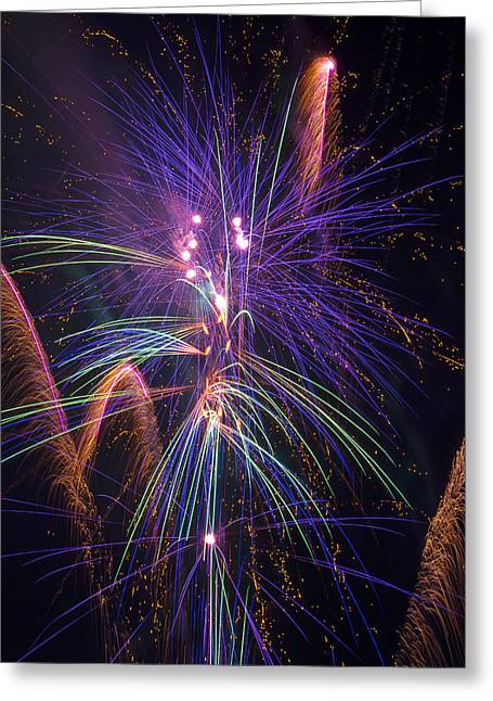 Blast Greeting Cards - Amazing Beautiful Fireworks Greeting Card by Garry Gay