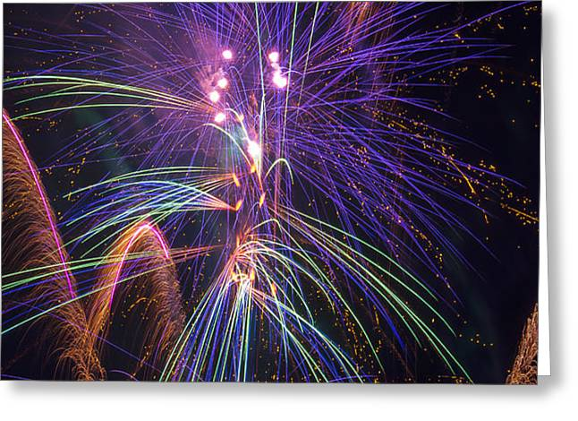 Amazing Beautiful Fireworks Greeting Card by Garry Gay
