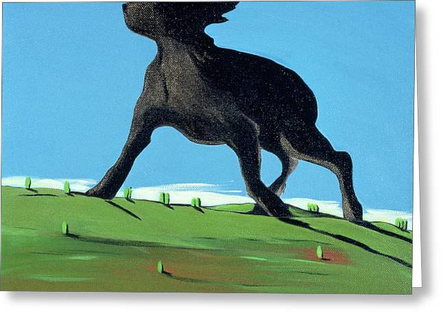 Large Scale Greeting Cards - Amazing Black Dog, 2000 Greeting Card by Marjorie Weiss