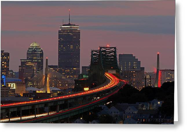 Amazing Sunset Greeting Cards - Amazing Boston Greeting Card by Juergen Roth