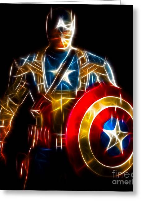 Thor Greeting Cards - Amazing Captain America Greeting Card by Pamela Johnson