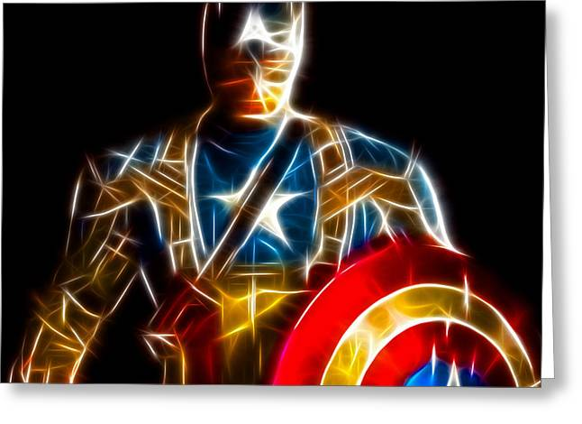 Dinner Mixed Media Greeting Cards - Amazing Captain America Greeting Card by Pamela Johnson
