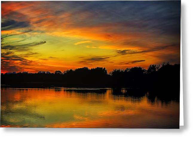 Amazing Pyrography Greeting Cards - Amazing evening sky Greeting Card by Gennadiy Golovskoy