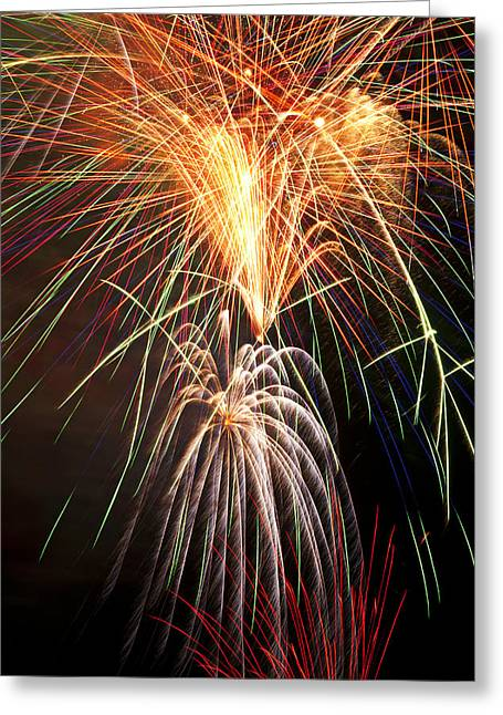 Pyrotechnics Greeting Cards - Amazing Fireworks Greeting Card by Garry Gay