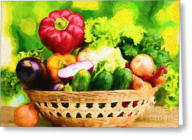 Lettuce Mixed Media Greeting Cards - Amazing G.M.O. Vegetables Greeting Card by Garland Johnson