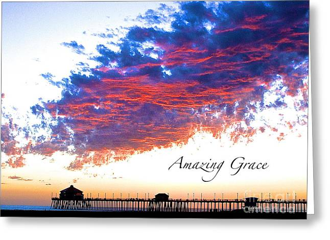 Fire In The Wood Greeting Cards - Amazing Grace Fire Sky Greeting Card by Margie Amberge