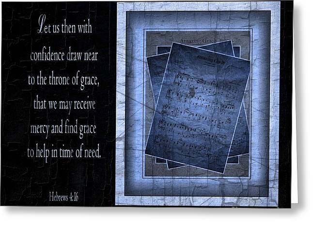 Julie Dant Greeting Cards - Amazing Grace in Blue with Scripture Greeting Card by Julie Dant
