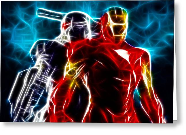 Dinner Mixed Media Greeting Cards - Amazing Iron Man And War Machine Greeting Card by Pamela Johnson