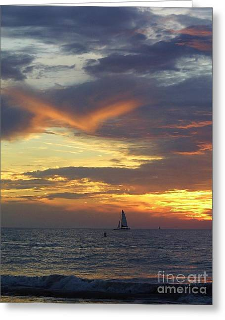 Boats In Reflecting Water Greeting Cards - Amazing Sky At Sunset Greeting Card by D Hackett