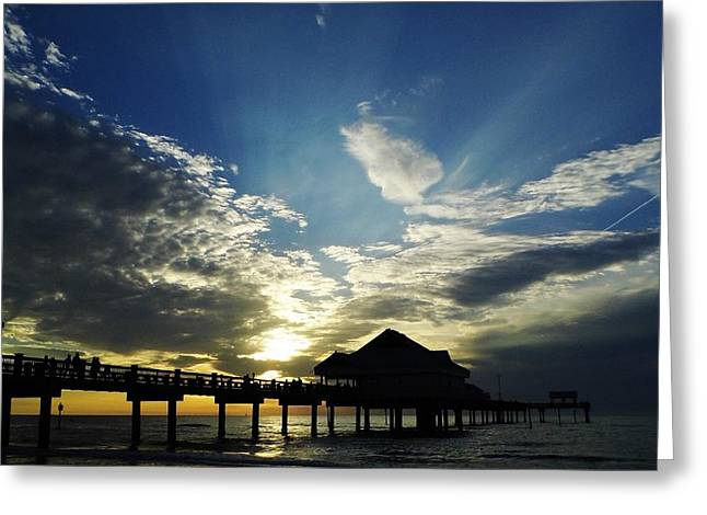 Reflections Of Sky In Water Greeting Cards - Amazing Sky Pier 60 Greeting Card by D Hackett