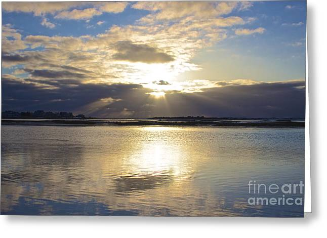 Storm Clouds Cape Cod Greeting Cards - Amazing Sunrise Greeting Card by Amazing Jules