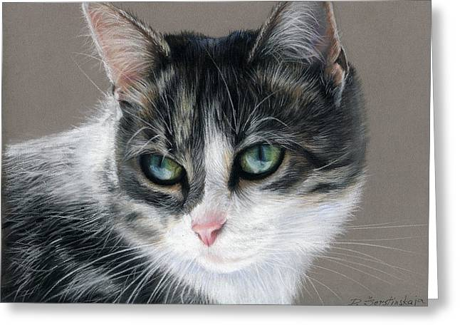 Amazing Pastels Greeting Cards - Amazing Tabby Cat Painting Greeting Card by Danguole Serstinskaja