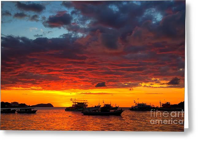 Fototrav Print Greeting Cards - Amazing tropical sunset on Kota Kinabalu bay Greeting Card by Fototrav Print