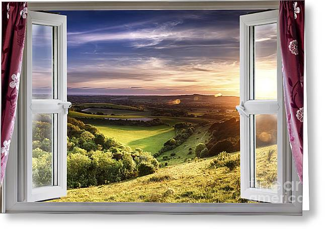 Peaceful Scenery Greeting Cards - Amazing window view Greeting Card by Simon Bratt Photography LRPS