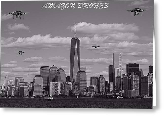 Amazon Drones In New York City Greeting Card by Dan Sproul