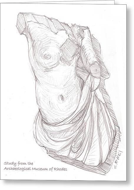 Greek Sculpture Drawings Greeting Cards - Amazon Greeting Card by Sharon McNeil