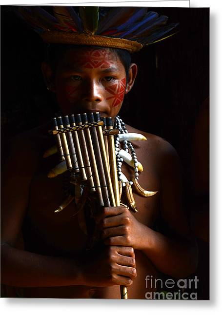 First Tribes Greeting Cards - Music In The Amazon South America 1 Greeting Card by Bob Christopher