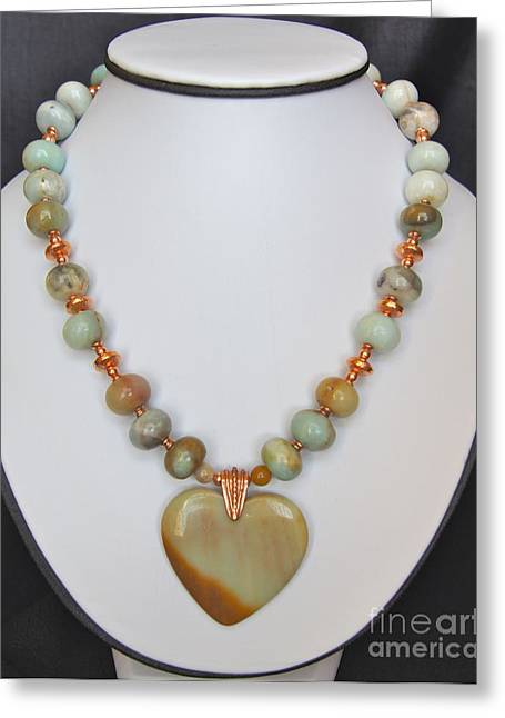 Natural Jewelry Greeting Cards - Amazonite Heart Necklace Greeting Card by Megan Cohen