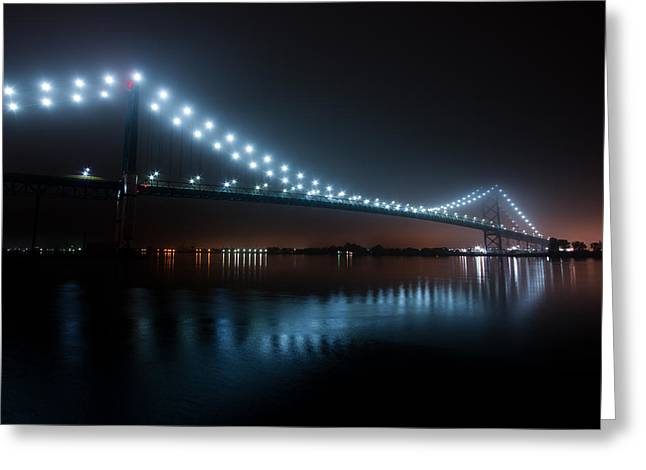 Border Photographs Greeting Cards - Ambassador Bridge Fog Greeting Card by Cale Best