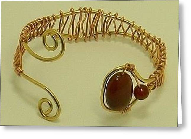 Designer Jewelry Jewelry Greeting Cards - Amber and Carnelian Copper-Wrapped Brass Cuff Bracelet Greeting Card by Tracy Partridge-Johnson