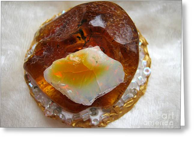 Spiritual Jewelry Greeting Cards - Amber and ethiopian opal Greeting Card by Heidi Sieber