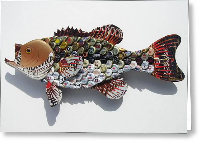Bass Fish Mixed Media Greeting Cards - Amber Bass Greeting Card by Eric Henderson