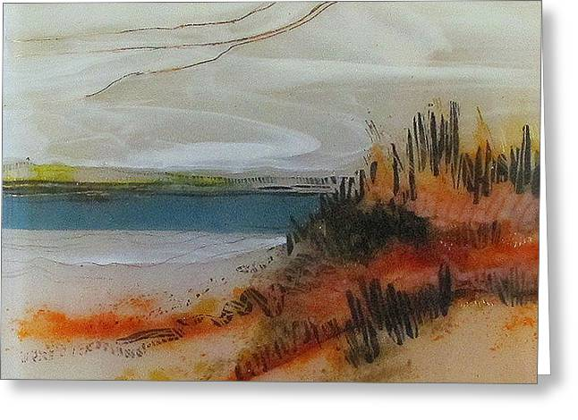 Glass Art Greeting Cards - Amber Beach Greeting Card by Alice Benvie Gebhart