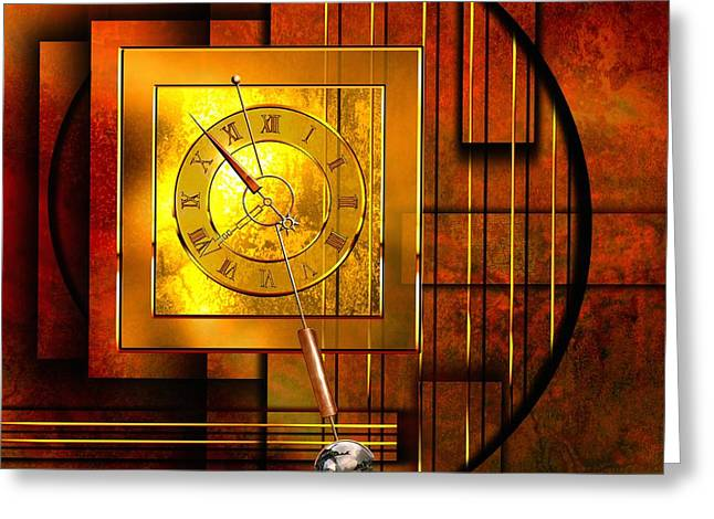 Abstract Digital Greeting Cards - Amber Clock Greeting Card by Franziskus Pfleghart