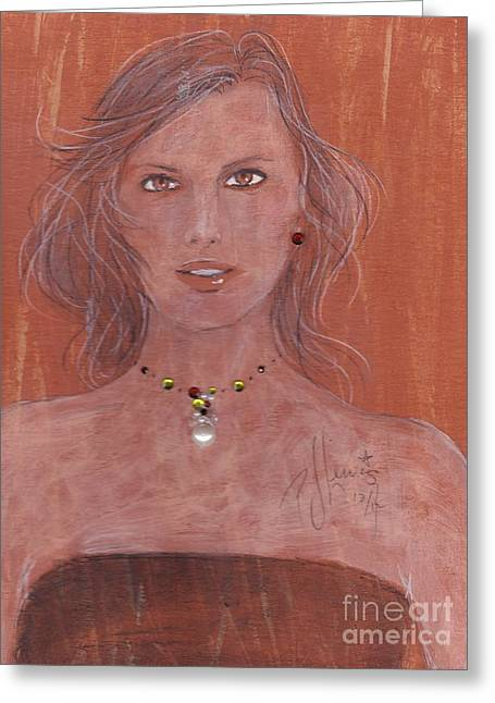 Face Of A Woman Greeting Cards - Amber eyes Greeting Card by P J Lewis