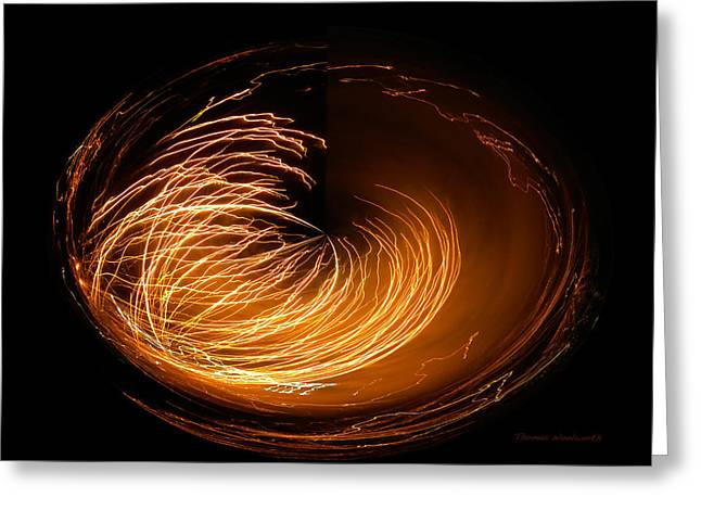 Pyrotechnics Digital Art Greeting Cards - Amber Fireworks Polar View Greeting Card by Thomas Woolworth