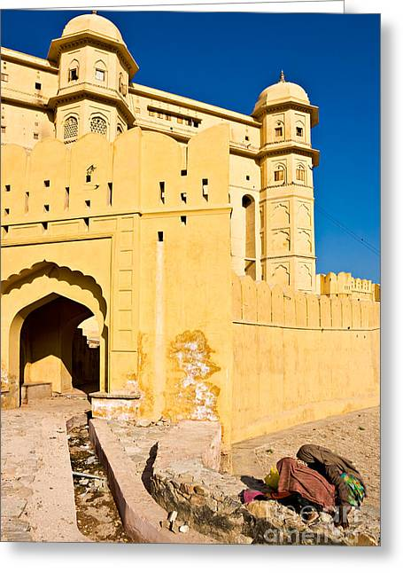 Locals Only Greeting Cards - Amber Fort - Jaipur - India Greeting Card by Luciano Mortula