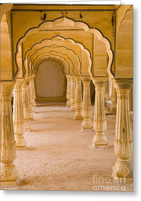 World Destination Photographs Greeting Cards - Amber Fort, India Greeting Card by Bill Bachmann