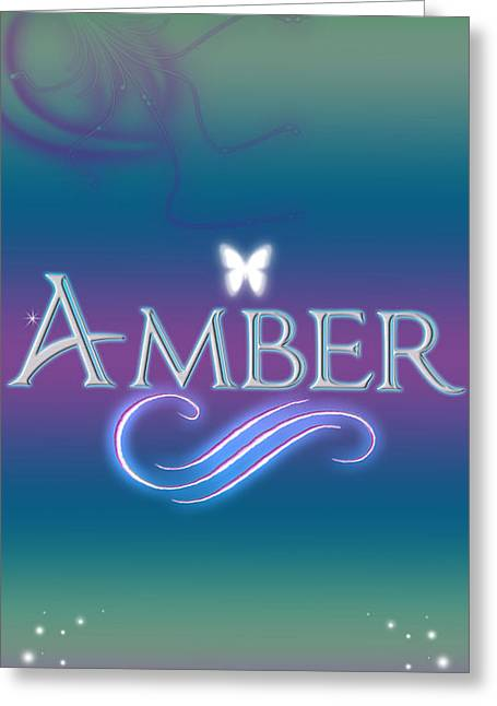 Star Stuff Greeting Cards - Amber Name Art Greeting Card by Becca Buecher