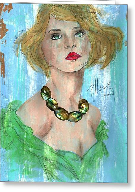 Blue And Green Mixed Media Greeting Cards - Amber Necklace Greeting Card by P J Lewis