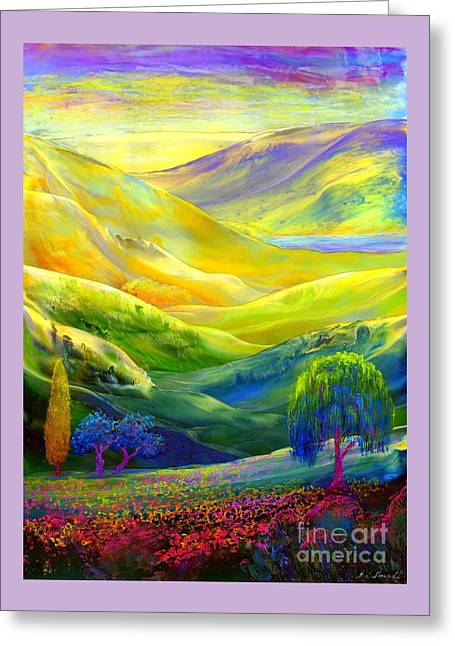 Wildflower Meadows, Amber Skies Greeting Card by Jane Small