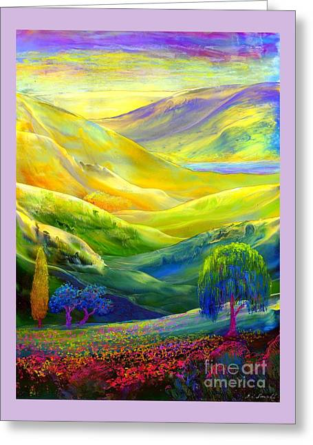Wildflower Meadows, Amber Skies Greeting Card by Jane Small