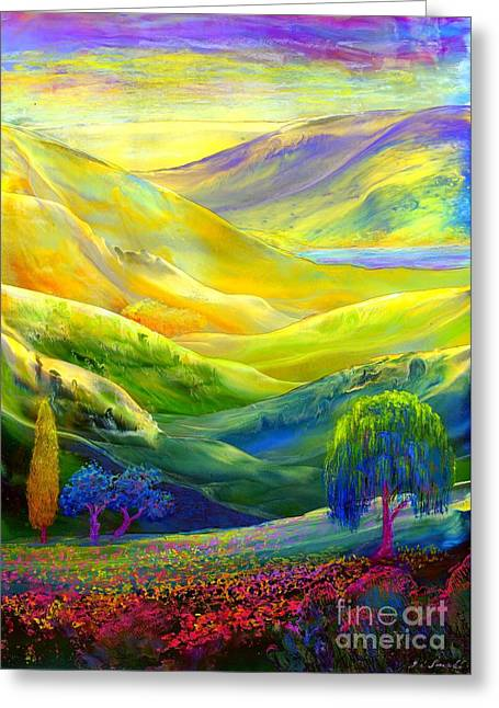 Vibrant Paintings Greeting Cards - Amber Skies Greeting Card by Jane Small