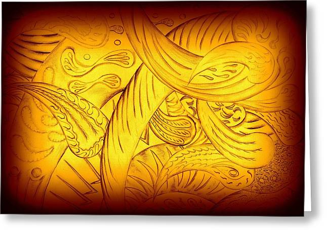 Single-celled Mixed Media Greeting Cards - Amber two Greeting Card by Kenneth Clarke