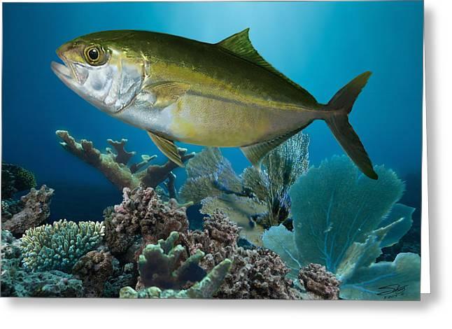 Reef Fish Digital Art Greeting Cards - Amberjack and Coral Reef Greeting Card by Matthew Schwartz