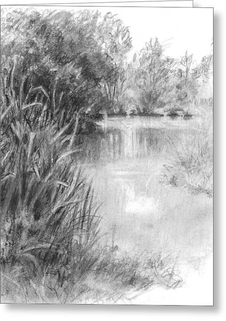 Office Space Drawings Greeting Cards - Amberley Pond Greeting Card by Sarah Parks