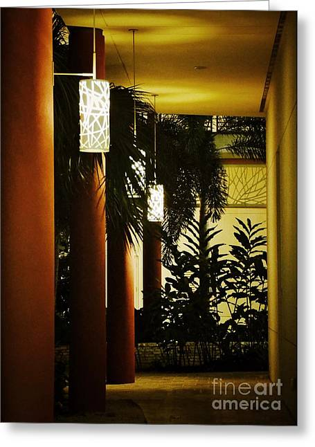 Dwell Greeting Cards - Ambient Walkway Greeting Card by Darla Wood