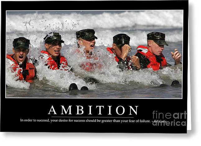 Navy Seals Greeting Cards - Ambition Inspirational Quote Greeting Card by Stocktrek Images