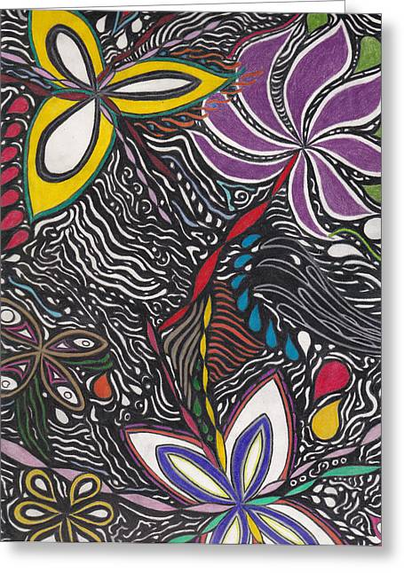 Repetition Drawings Greeting Cards - Ambitions Flight Greeting Card by Laurie Gibson