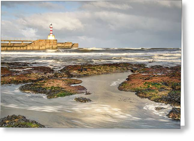 Farne Islands Greeting Cards - Amble Pier Waves Greeting Card by Chris Frost
