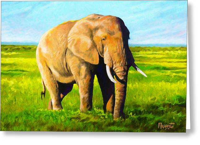 Africa Greeting Cards - Amboseli Afternoon Greeting Card by Anthony Mwangi