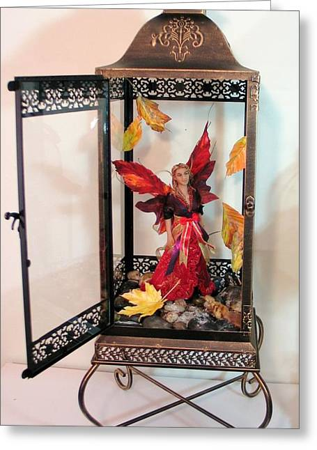 Fantasy Sculptures Greeting Cards - Ambris Quay...Fire and Frost Greeting Card by Tamara Stickler